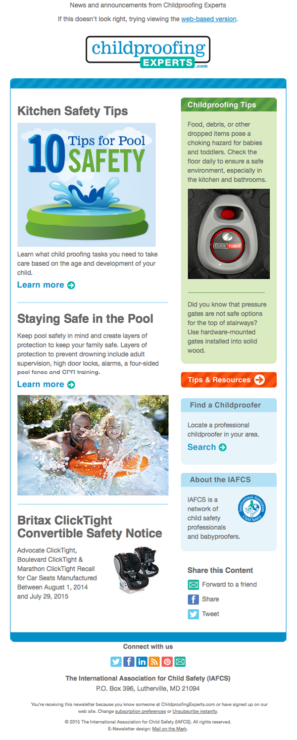 Childproofing Experts enewsletter design