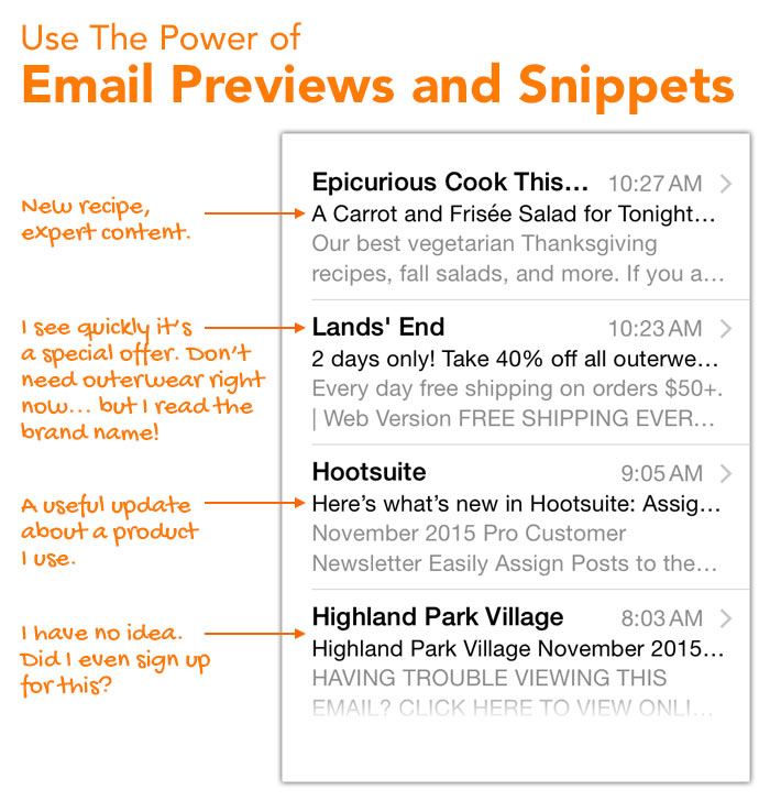Use snippets and previews carefully in your e-newsletter